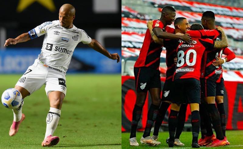 Santos e Athletico-PR em partidas válidas pelo Brasileirão 2021