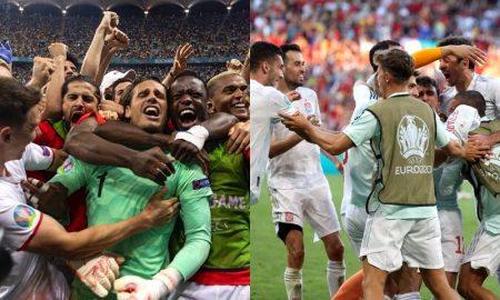 Suíça e Espanha comemorando a classificação às quartas de final da Eurocopa 2021