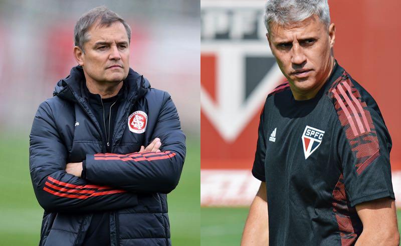 Os técnicos Diego Aguirre, do Internacional, e Hernán Crespo, do São Paulo, no Brasileirão 2021