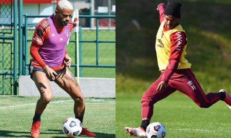 Reinaldo (São Paulo) e Nikão (Athletico-PR) em treinos para a rodada do Brasileirão 2021