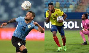 Arrascaeta, do Uruguai, e Borja, da Colômbia, na Copa América 2021