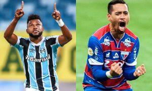 O atacante Borja, do Grêmio, e o lateral Yago Pikachu, do Fortaleza, no Brasileirão 2021