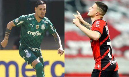 Gustavo Gómez, do Palmeiras, e Renato Kayzer, do Athletico-PR, que duelam no Brasileirão 2021