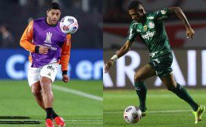 Hulk, do Atlético-MG, e Danilo, do Palmeiras, em ação na Libertadores 2021