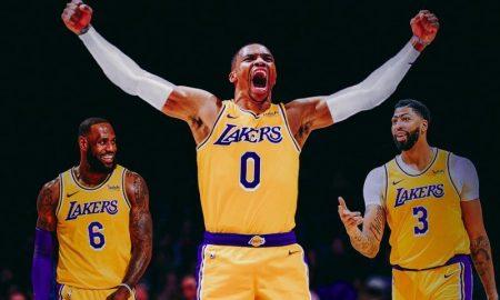 Montagem com LeBron James, Russell Westbrook e Anthony Davis, astros do Los Angeles Lakers na NBA
