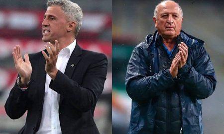 Os técnicos Hernán Crespo, do São Paulo, e Luiz Felipe Scolari, do Grêmio, no Brasileirão 2021