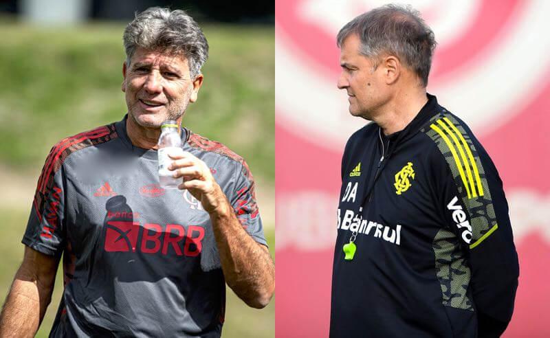 Os técnicos Renato Gaúcho (Flamengo) e Diego Aguirre (Internacional) nos treinos para o jogo do fim de semana pelo Brasileirão 2021