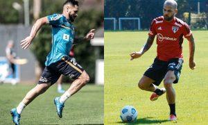 Os laterais Pará, do Santos, e Daniel Alves, do São Paulo, treinam para a rodada do Brasileirão 2021