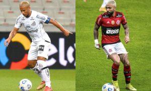 Sanchez (Santos) e Gabigol (Flamengo): equipes duelam no fim de semana pelo Brasileirão 2021