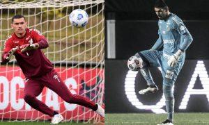 Os goleiros Santos, do Athletico-PR, e João Paulo, do Santos, destaques da Sul-Americana 2021