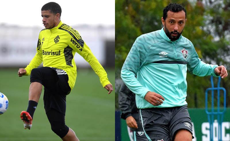Taison, do Internacional, e Nenê, do Fluminense, treinam para o duelo entre as equipes no Brasileirão 2021