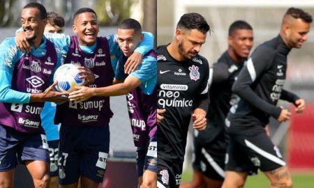Jogadores de Santos e Corinthians treinam para o clássico no Brasileirão 2021