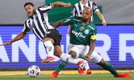 Hulk e Felipe Melo em Palmeiras x Atlético-MG nas semifinais da Libertadores 2021