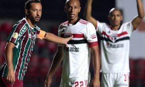 São Paulo x Fluminense no primeiro turno do Brasileirão 2021; o jogo terminou empatado, 0 a 0