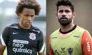 Willian, do Corinthians, e Diego Costa, do Atlético-MG, novidades no Brasileirão 2021