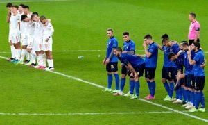 Itália x Espanha na semifinal da Eurocopa 2021, em Wembley